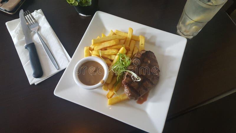Изысканная еда на гостинице часов, серферы рай стейка, Квинсленд стоковая фотография rf