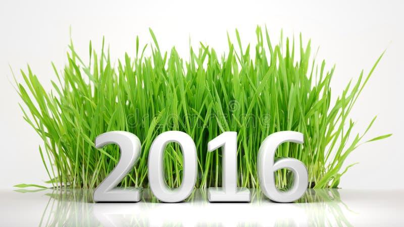 2016 из зеленой травы иллюстрация штока