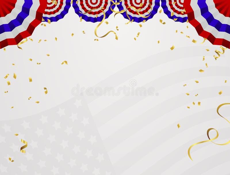 4 из США -го Дня независимости в июле Абстрактная рамка праздника с plac бесплатная иллюстрация