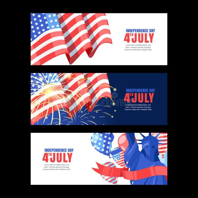 4 из США -го Дня независимости в июле Горизонтальный комплект знамени праздника с флагом, салютом и статуей свободы Предпосылка в бесплатная иллюстрация