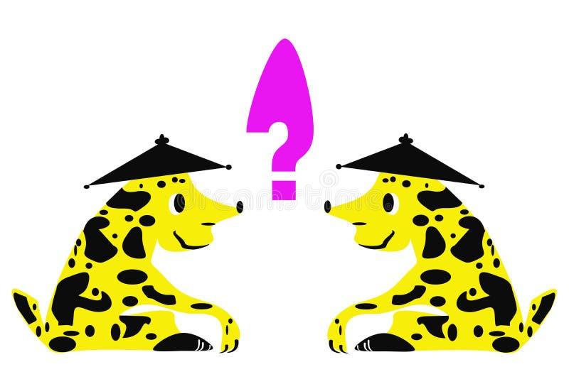 2 из таких же фантастических животных перед одином другого и вопросительного знака между ими бесплатная иллюстрация