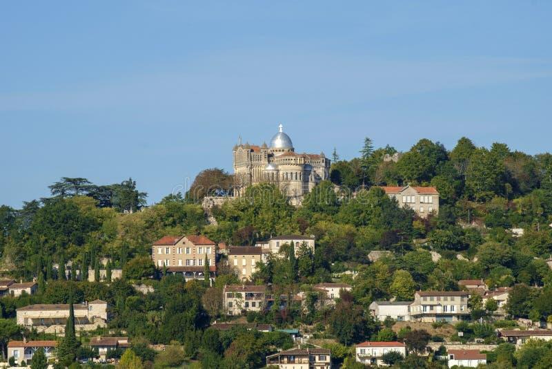 Из укрепленного отеля Penne d`Agenais открывается вид на сельскую местность в районе Лот и Гаронн, Франция стоковое изображение