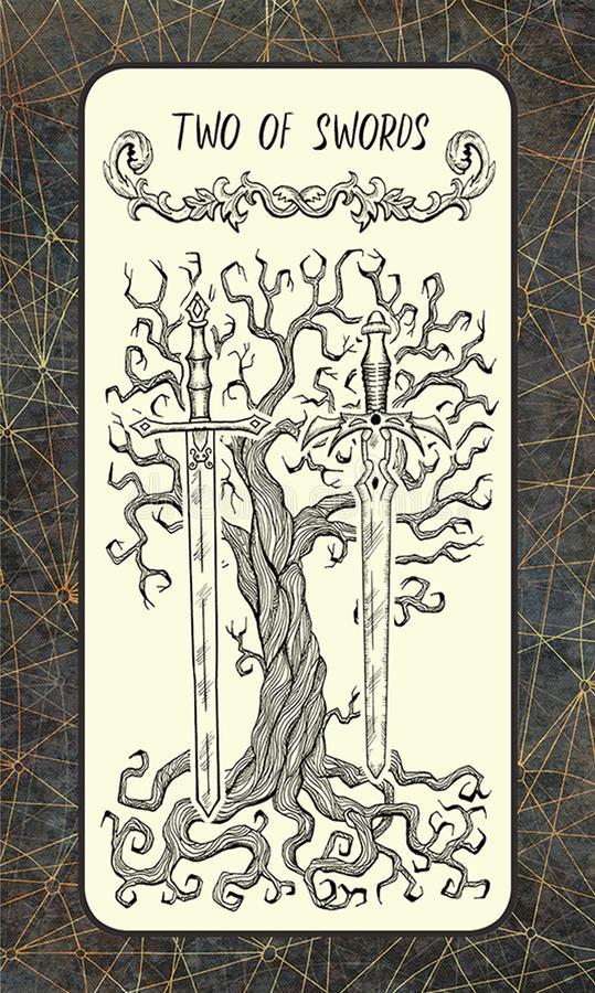 2 из шпаг Волшебная карточка tarot строба иллюстрация вектора