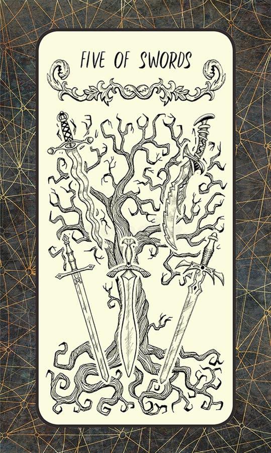 5 из шпаг Волшебная карточка tarot строба иллюстрация штока