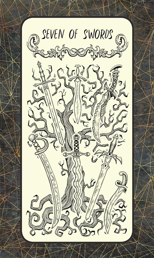 7 из шпаг Волшебная карточка tarot строба иллюстрация вектора
