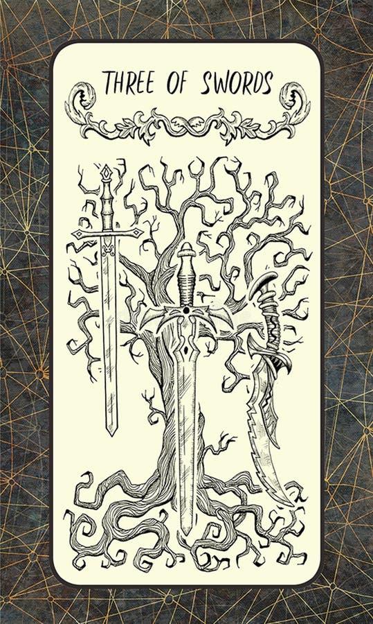 3 из шпаг Волшебная карточка tarot строба иллюстрация вектора