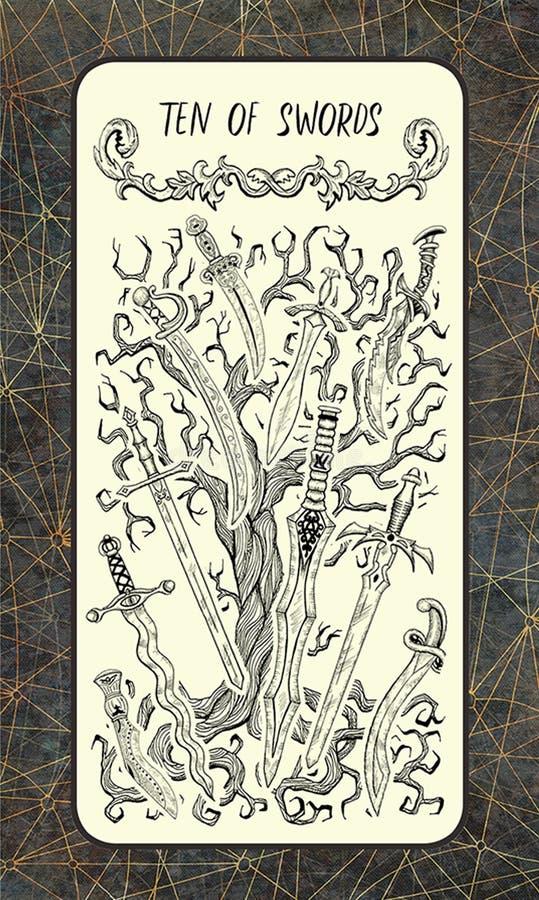10 из шпаг Волшебная карточка tarot строба иллюстрация вектора