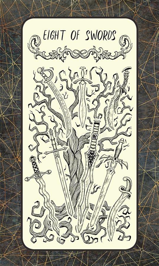 8 из шпаг Волшебная карточка tarot строба иллюстрация вектора