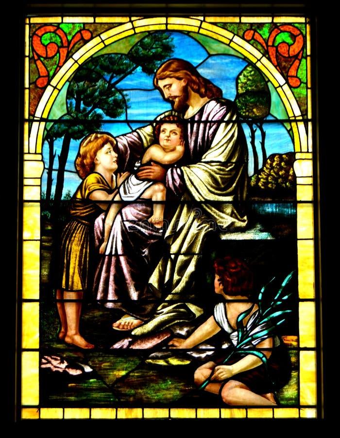 Иисус благословляет детей стоковые изображения rf