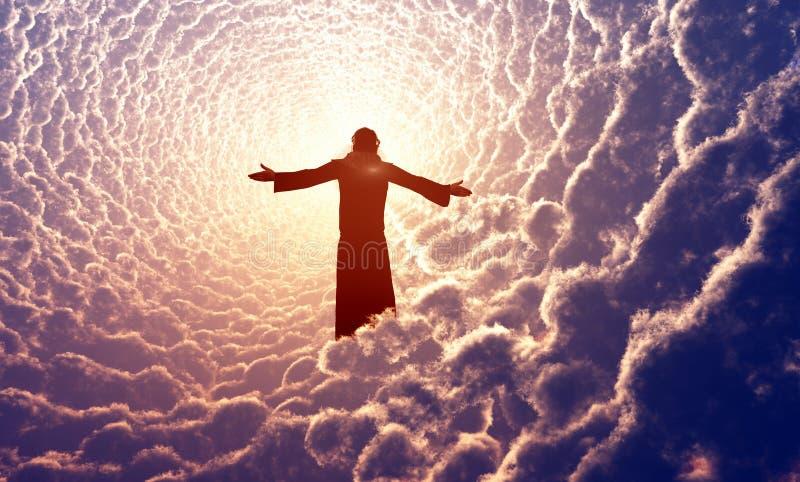 Иисус в облаках. бесплатная иллюстрация