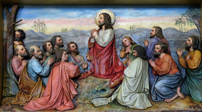 Иисус и апостолы в Mount of Olives стоковое фото
