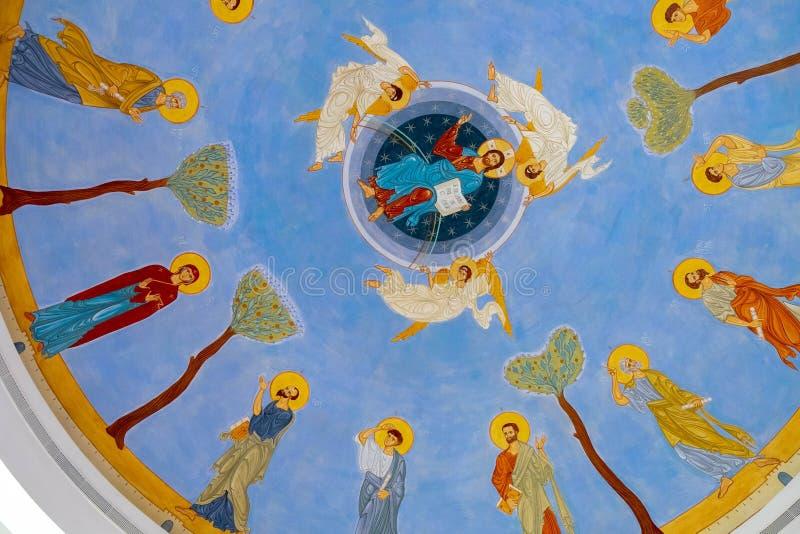 Иисус и апостолы на покрашенном потолке в Mary центра Назарета стоковые изображения rf