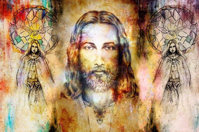Иисус и красивый ангел быть с голубем и sprig, духовной концепцией Иисус смотрит на в космическом космосе иллюстрация вектора
