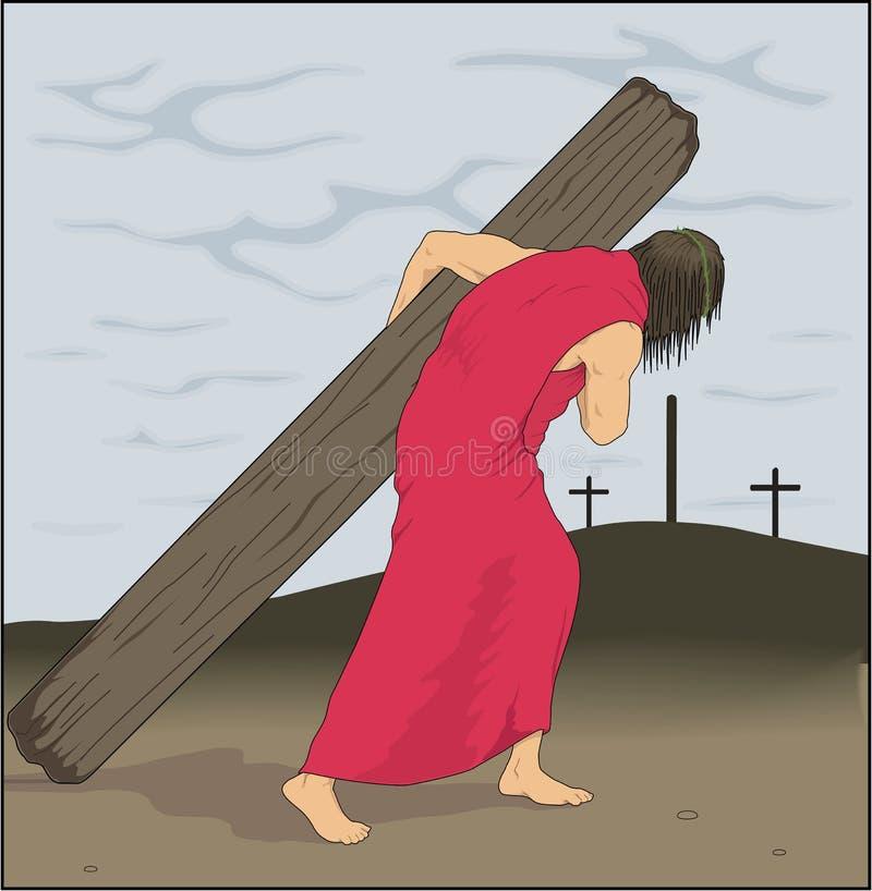 Иисус нося перекрестную иллюстрацию вектора бесплатная иллюстрация