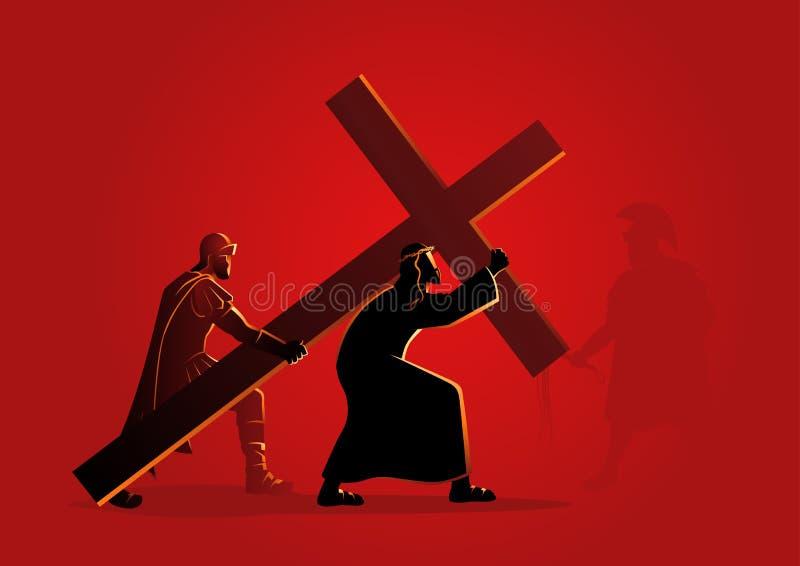 Иисус признавает его крест иллюстрация штока
