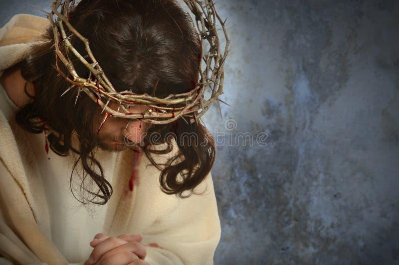 Иисус с кроной терниев стоковое фото rf