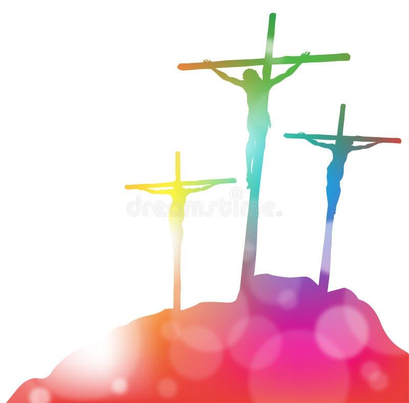 Иисус Христос на кресте в конспекте иллюстрация вектора