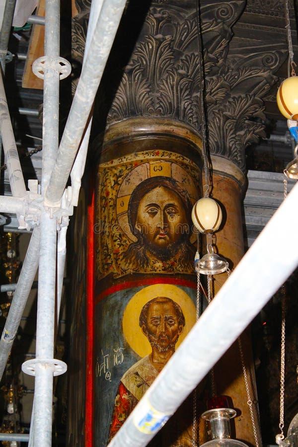 Иисус Христос на штендере в великолепной базилике рождества Christ's в Вифлееме стоковые изображения