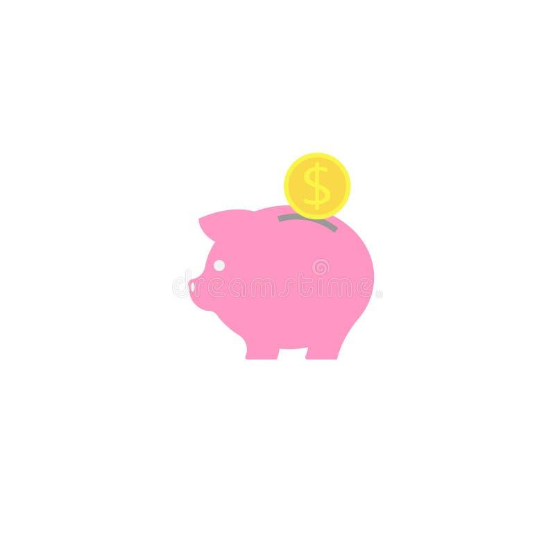 икона банка piggy диаграмма сбережениа дег банка piggy кладя иллюстрация вектора