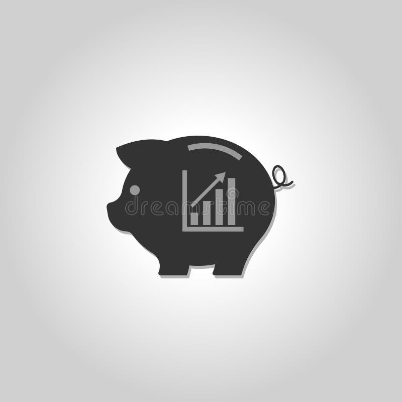 икона банка piggy диаграмма сбережениа дег банка piggy кладя иллюстрация штока