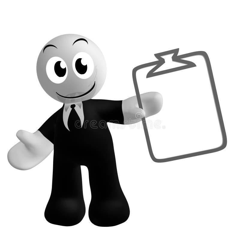 Икона бизнесмена с символом задачи план-графика иллюстрация вектора