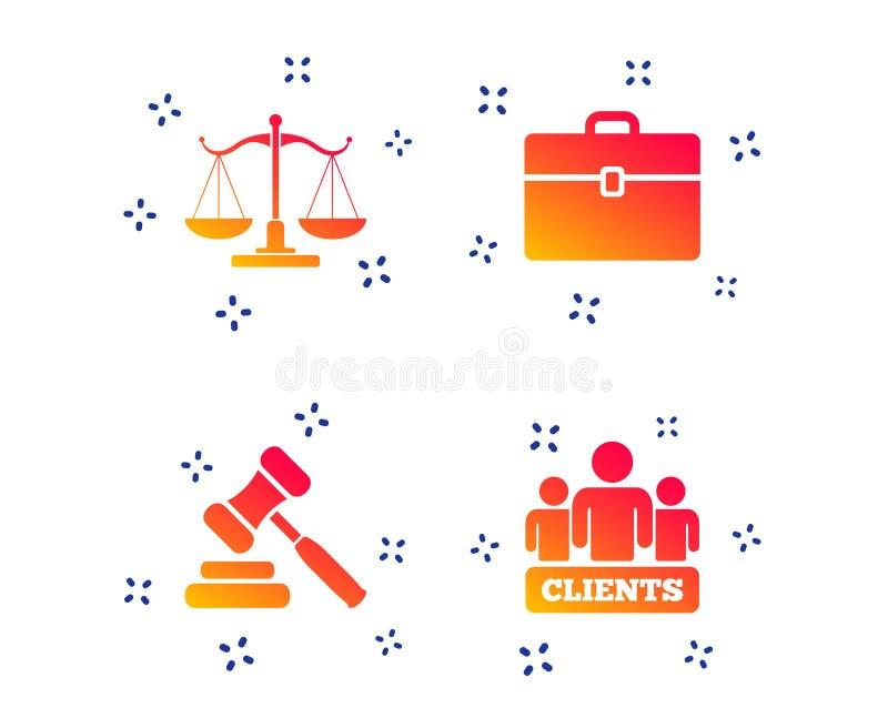 Икона весов правосудия Молоток и случай аукциона вектор бесплатная иллюстрация