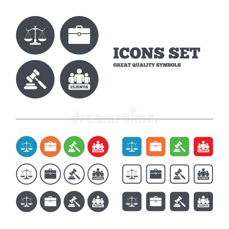 Икона весов правосудия Молоток и случай аукциона бесплатная иллюстрация