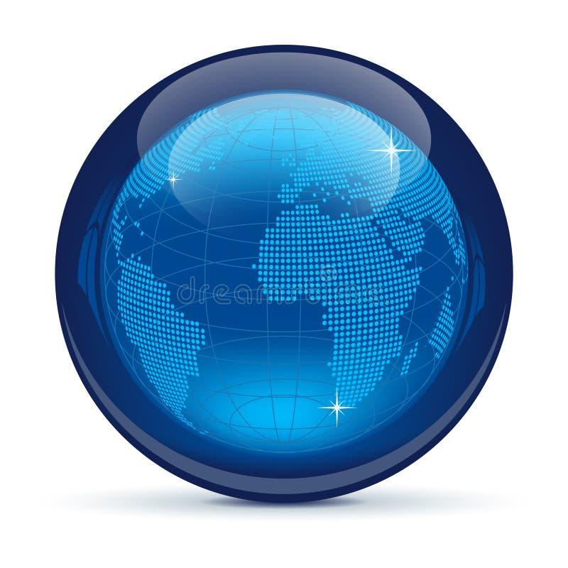 икона глобуса синего стекла иллюстрация штока