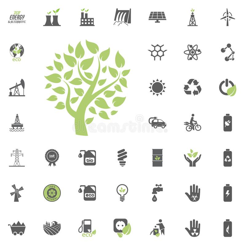 Икона дерева Eco Комплект значка вектора Eco и альтернативной энергии Вектор ресурса силы электричества источника энергии установ иллюстрация вектора