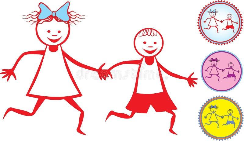 икона детей счастливая иллюстрация штока