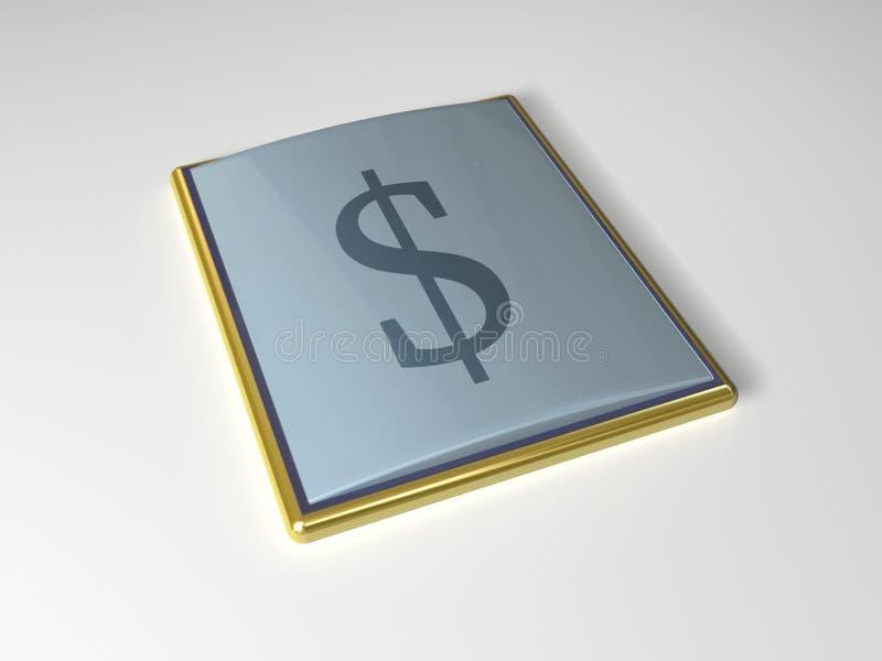 икона доллара 3d иллюстрация вектора