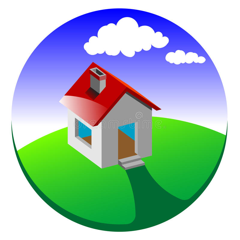 икона дома 3d иллюстрация вектора