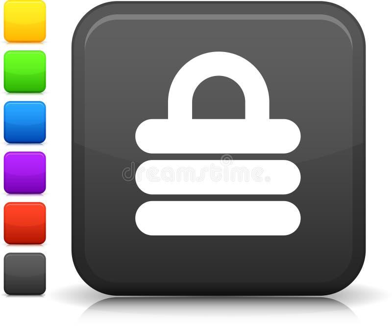 Икона замка обеспеченностью на квадратной кнопке интернета иллюстрация вектора