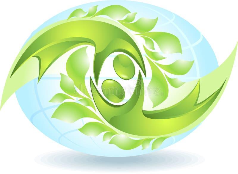 икона зеленого цвета eco танцоров иллюстрация штока