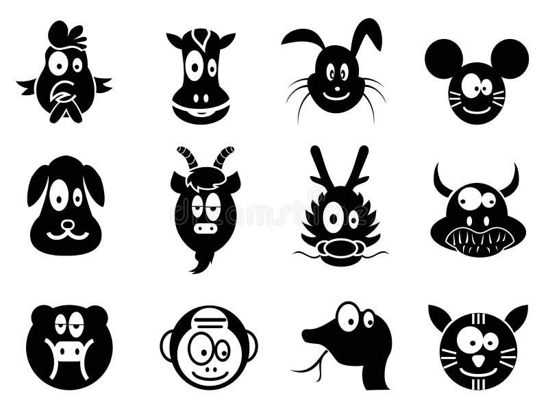 Икона зодиака милого шаржа китайская, 12 животных иллюстрация штока