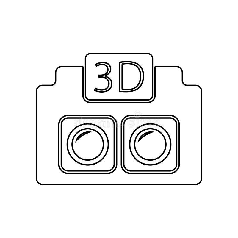 икона камеры 3d Элемент фотографии оборудования для мобильных концепции и значка приложений сети План, тонкая линия значок для ди иллюстрация вектора
