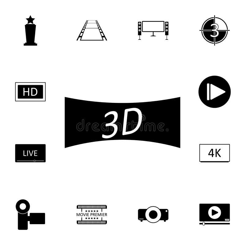 икона кино 3d Детальный комплект значков кино Наградной качественный значок графического дизайна Один из значков собрания для веб иллюстрация вектора