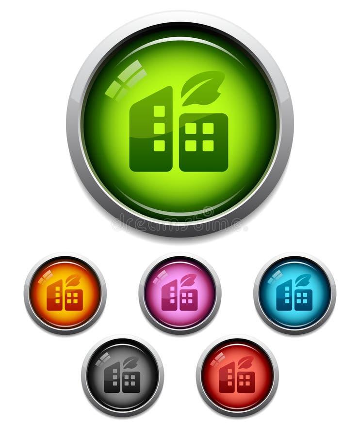 икона кнопки зданий лоснистая бесплатная иллюстрация