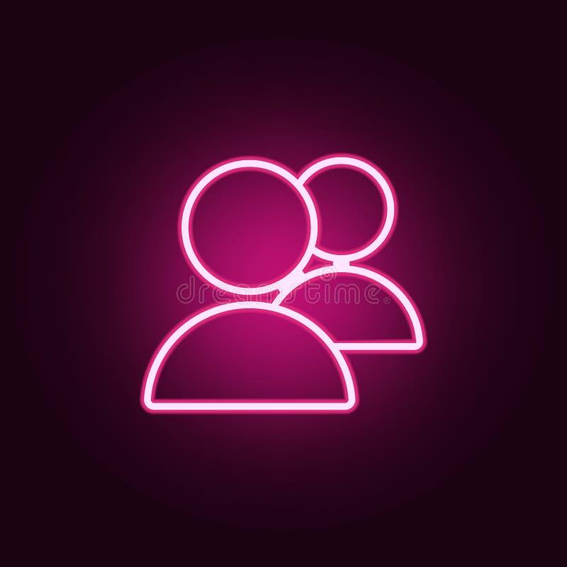 Икона людей Элементы сети в неоновых значках стиля Простой значок для вебсайтов, веб-дизайн, мобильное приложение, графики информ иллюстрация штока