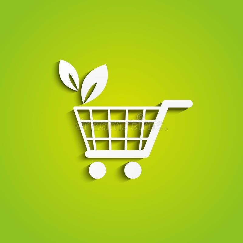 Икона магазинной тележкаи экологичности иллюстрация штока