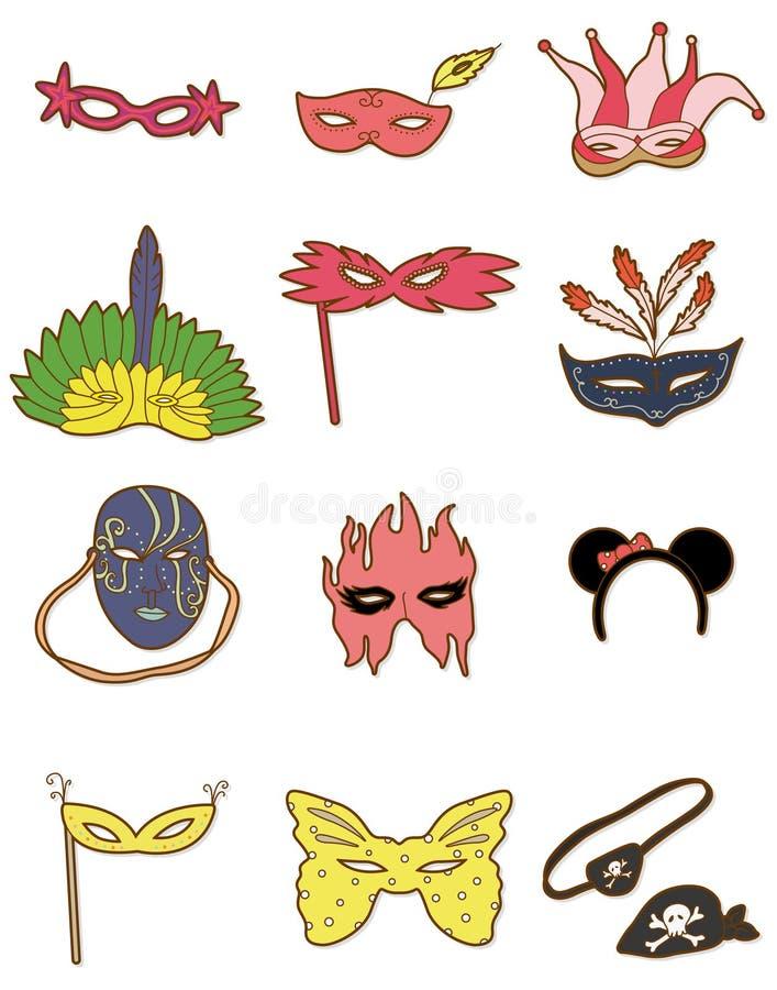Икона маски партии шаржа иллюстрация вектора