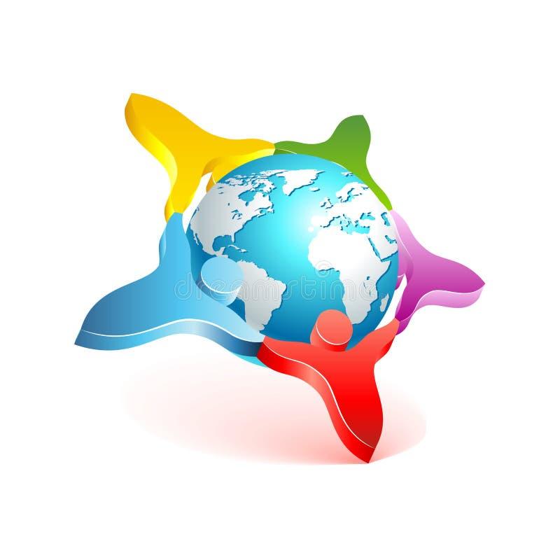 Икона мира 3d людей. Элемент конструкции вектора бесплатная иллюстрация