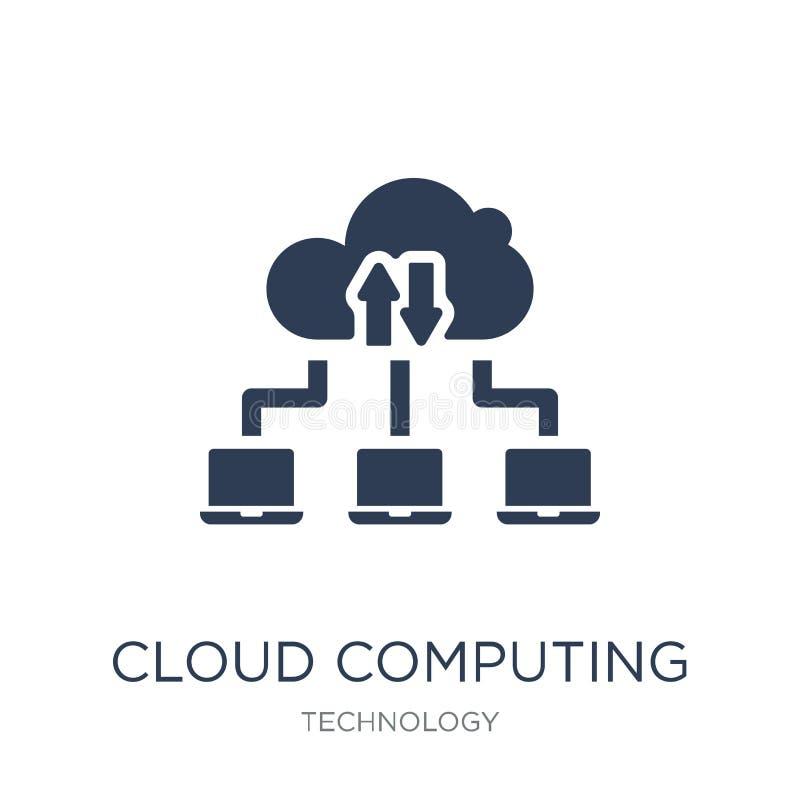 икона облака вычисляя Значок ультрамодного плоского облака вектора вычисляя дальше иллюстрация штока