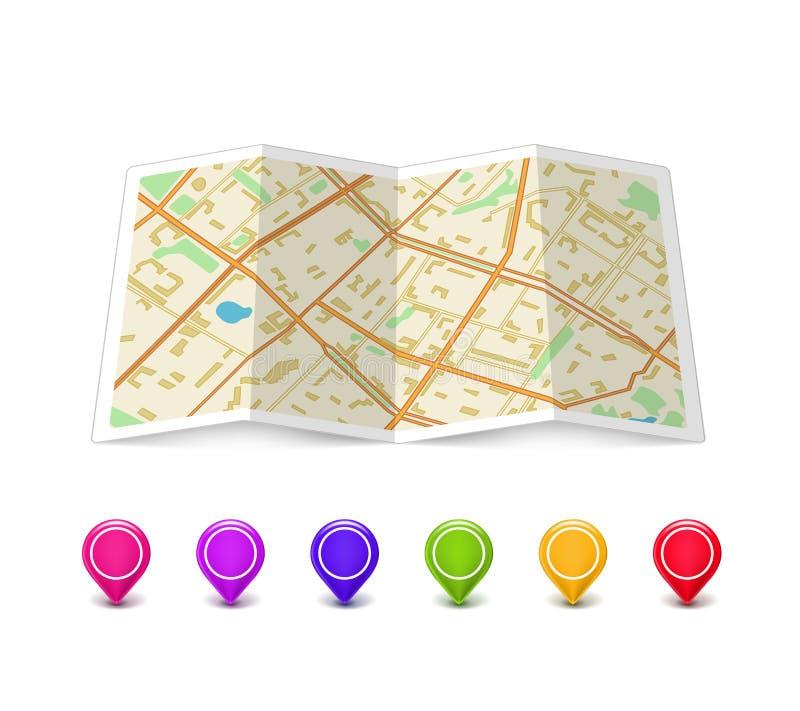 Составьте карту икона с указателями Pin иллюстрация штока