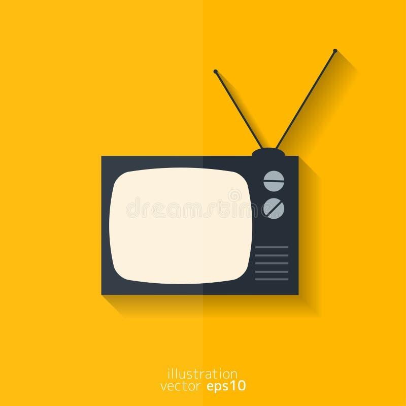 икона ретро tv Плоский дизайн иллюстрация штока