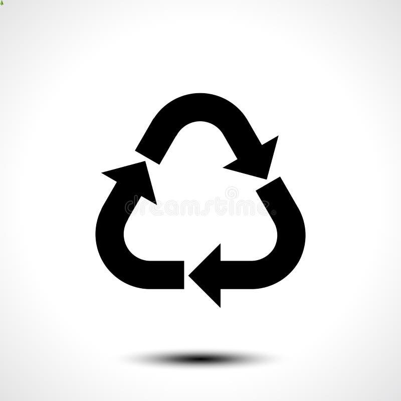 икона рециркулирует Eco рециркулирует символ знака изолированный на белой предпосылке иллюстрация штока
