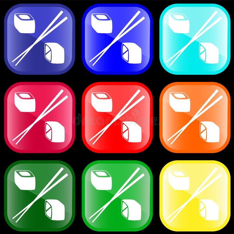 икона свертывает суши иллюстрация вектора