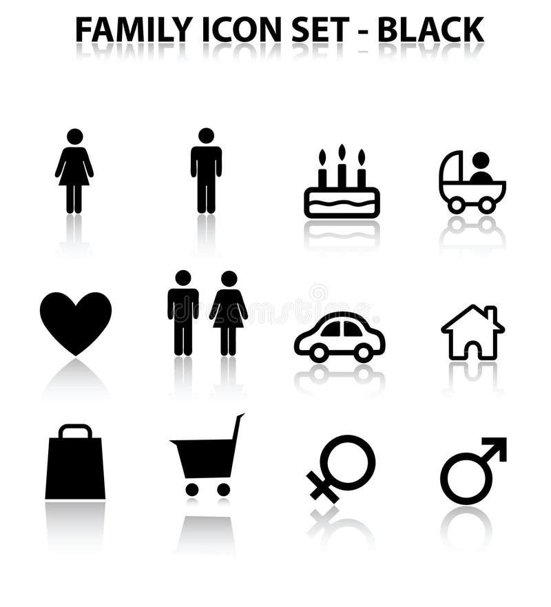 икона семьи отражает комплект иллюстрация вектора