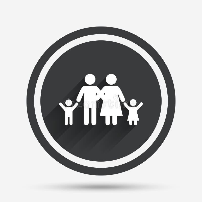 Икона семьи Родители с символом детей иллюстрация вектора
