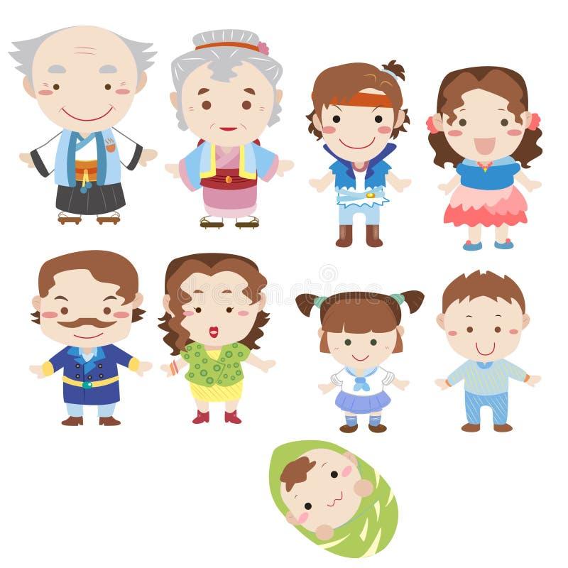 Икона семьи шаржа иллюстрация штока